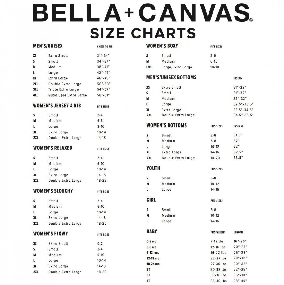 More Views Size Chart Bella Canvas
