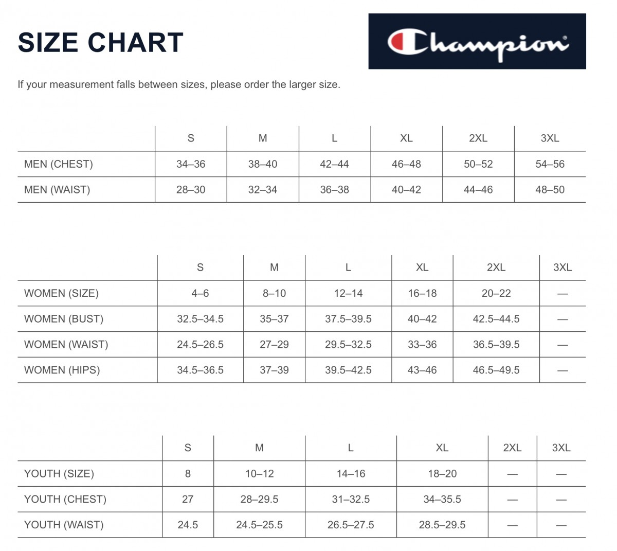 More Views Size Chart Champion Gtm