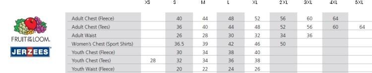 Size chart jerzees
