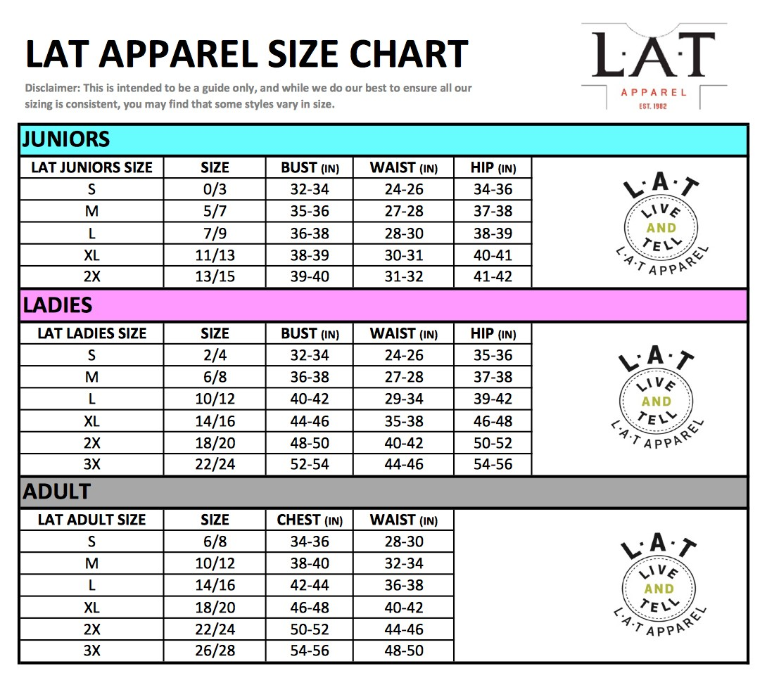 Size Chart Rabbit Skins Lat Code Five