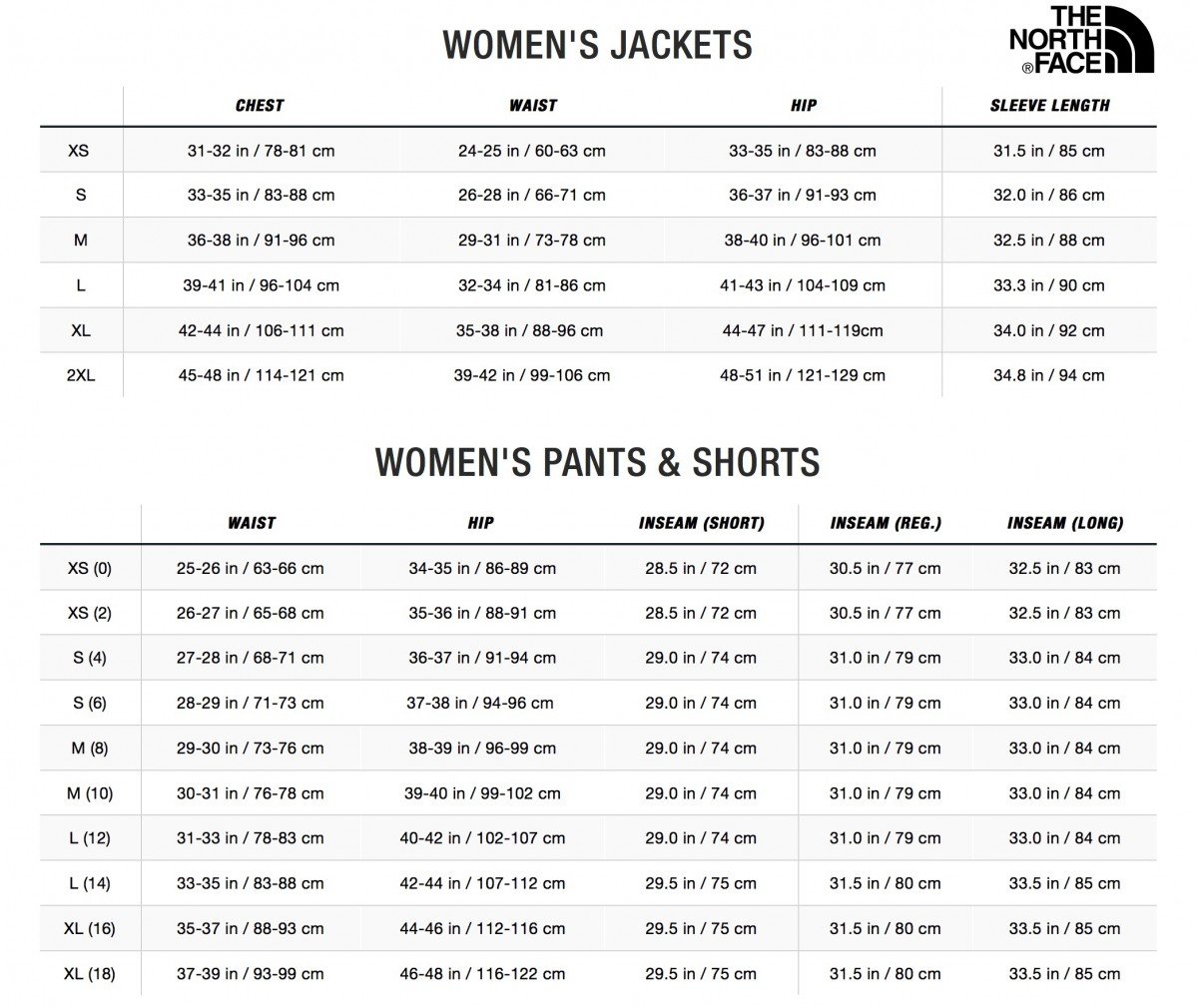 SIZE CHART- North Face