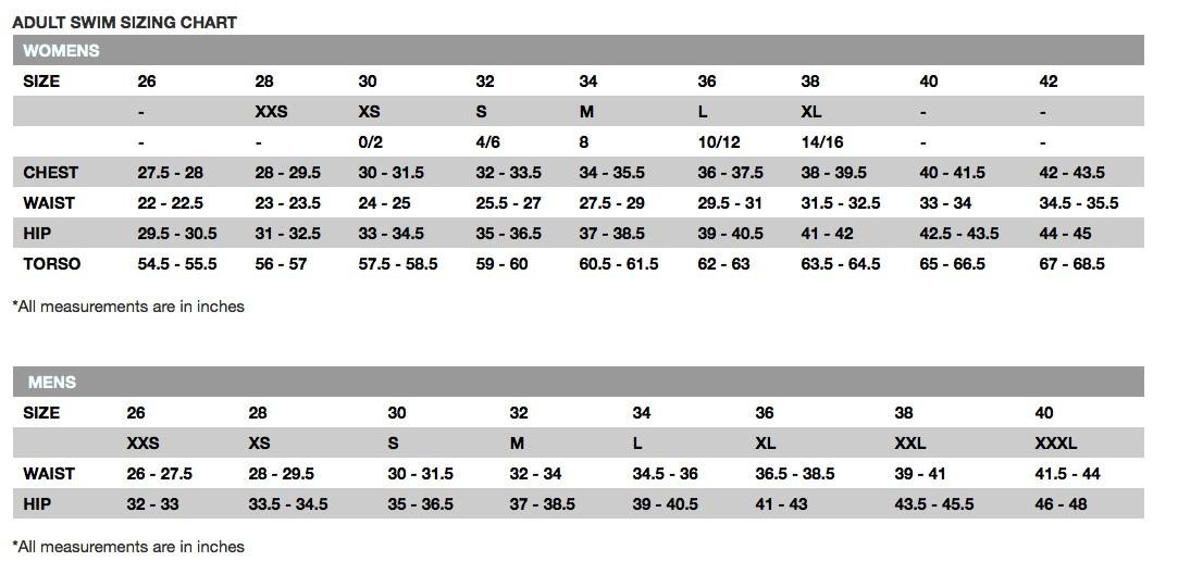 Size Chart Tyr Swimwear