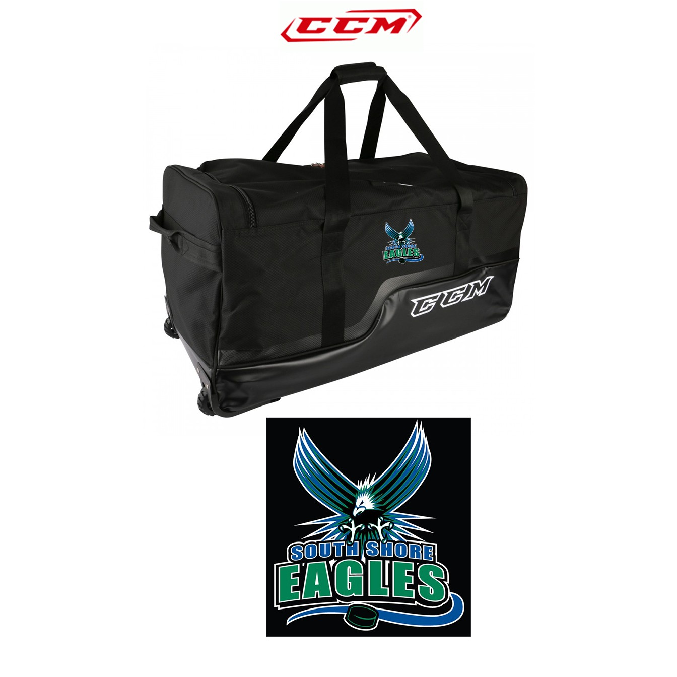 """South Shore Eagles CCM 270 Player Basic 36""""/37""""in. Wheeled Hockey Equipment Bag"""