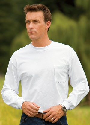 Port & Company® - Long Sleeve Essential T-Shirt with Pocket PC61LSP
