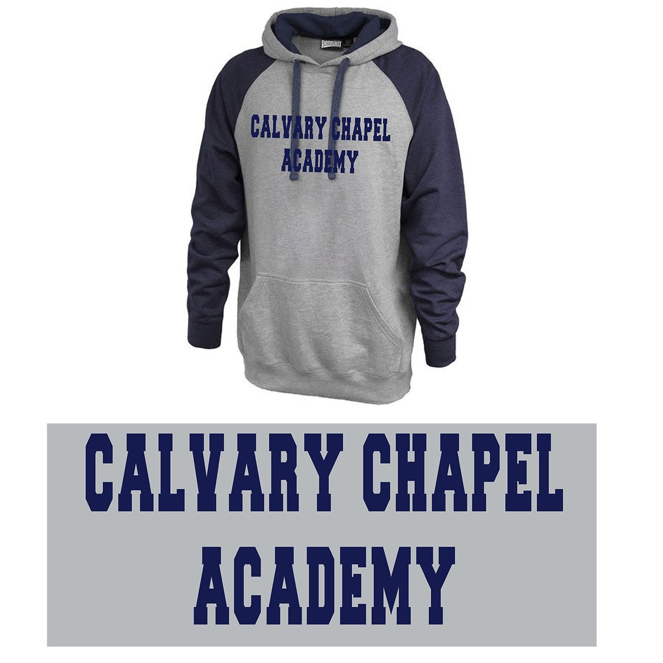 Calvary Chapel Academy Pennant Sportswear Vintage Grey & Navy Hoodie, Adult Sizing