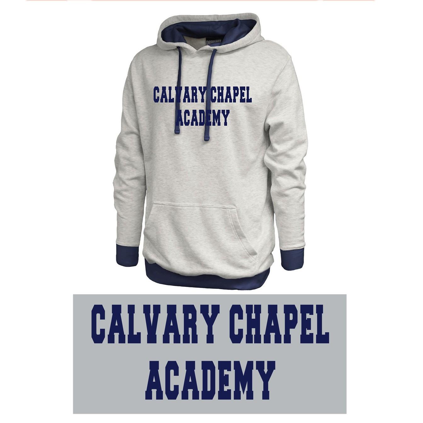 Calvary Chapel Academy Pennant Sportswear Vintage White & Navy Hoodie, Adult Sizing