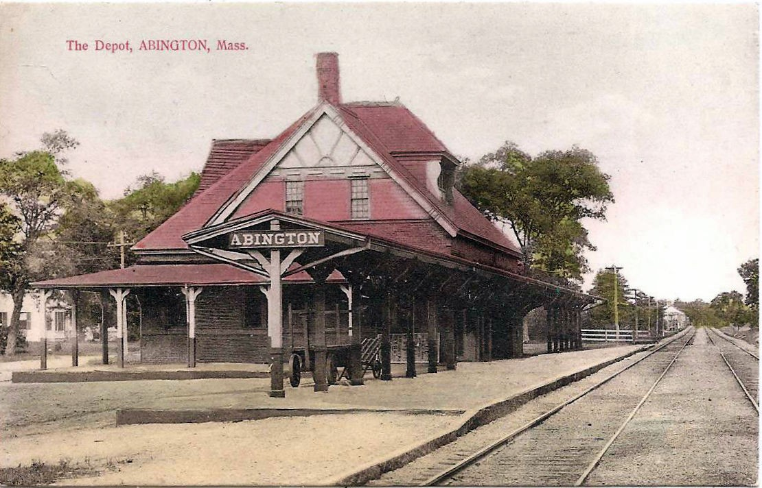 Abington Depot Station Postcard