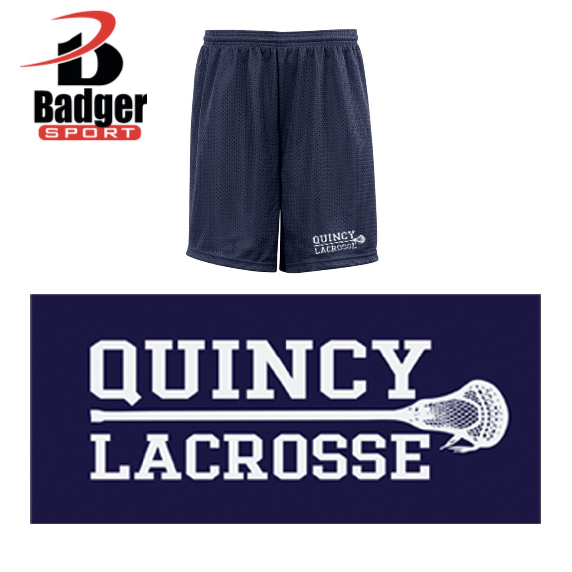 Quincy Lacrosse Badger Mesh/Tricot 7 Inch Short