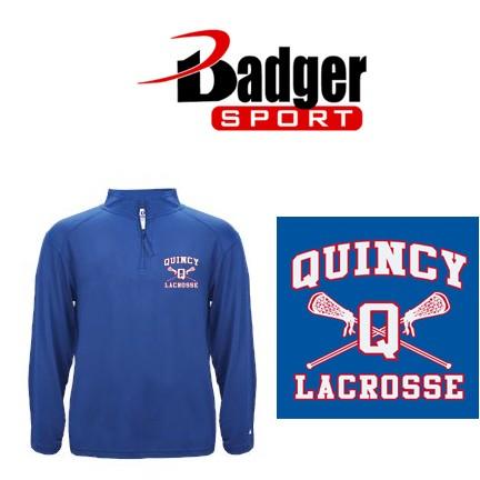 Quincy Lacrosse Badger Brand 1/4 Zip Mens LightWeight Pullover