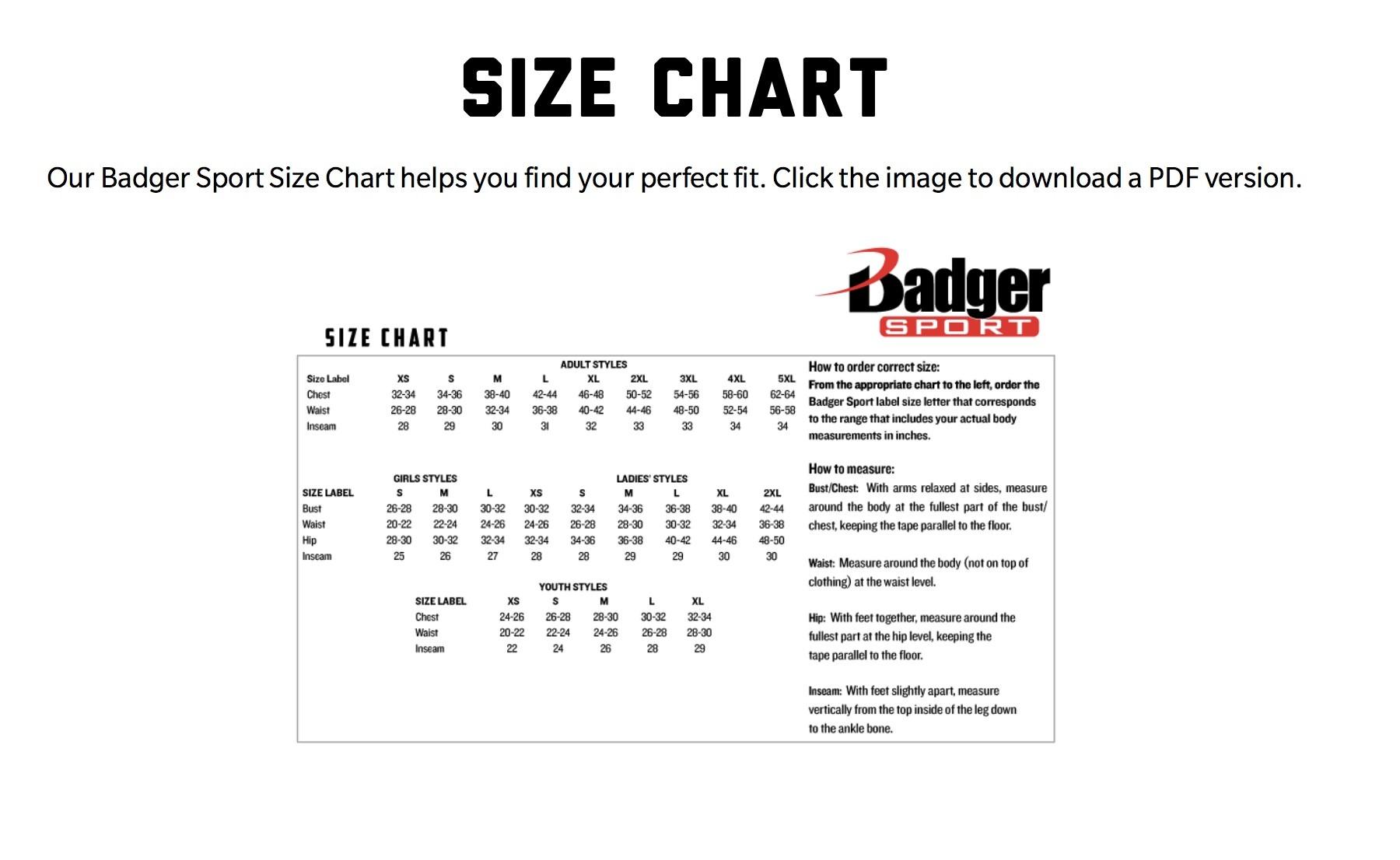 SIZE CHART- Badger Sportswear