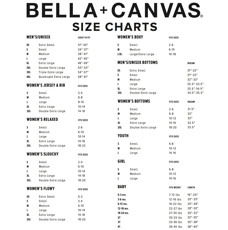 Size chart bella bella canvas