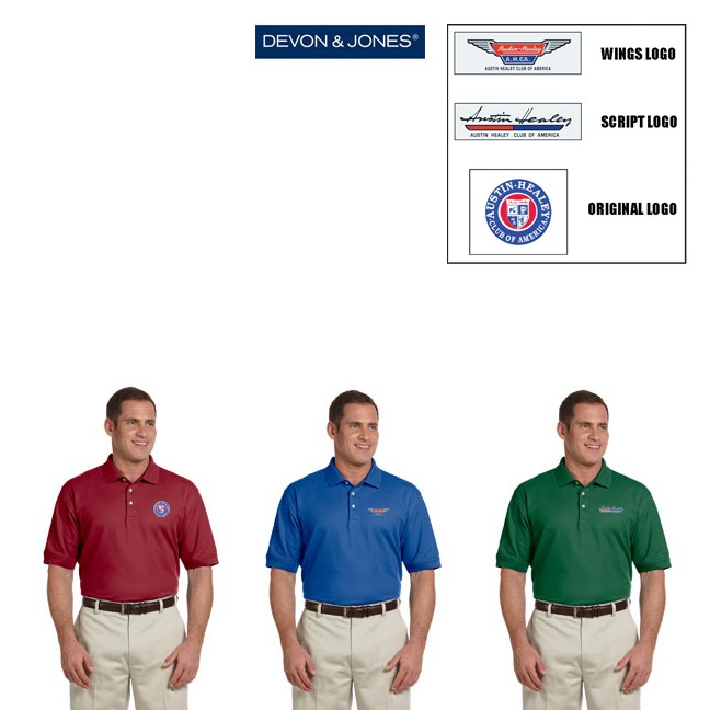 AHCA STEP- UP PROGRAM: Devon & Jones Brand Men's Pima Pique Cotton Short Sleeve Polo, Style #D100