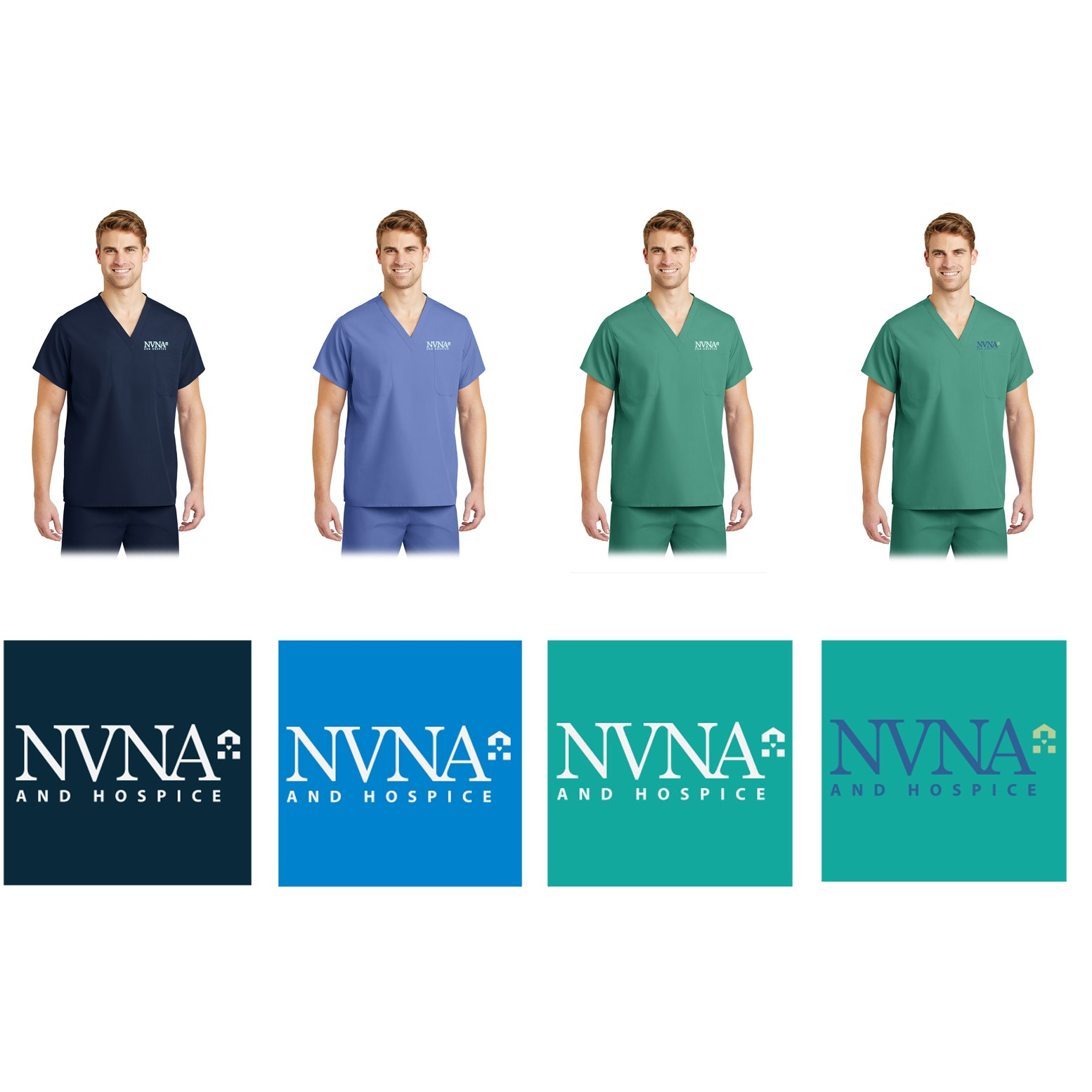 08ddcf2f75a NVNA And Hospice CornerStone Brand Reversible V-Neck Scrub Top With  Embroidered Logo