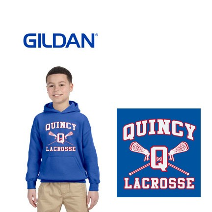 Quincy Lacrosse Gildan Brand Youth Hooded Pullover Sweatshirt