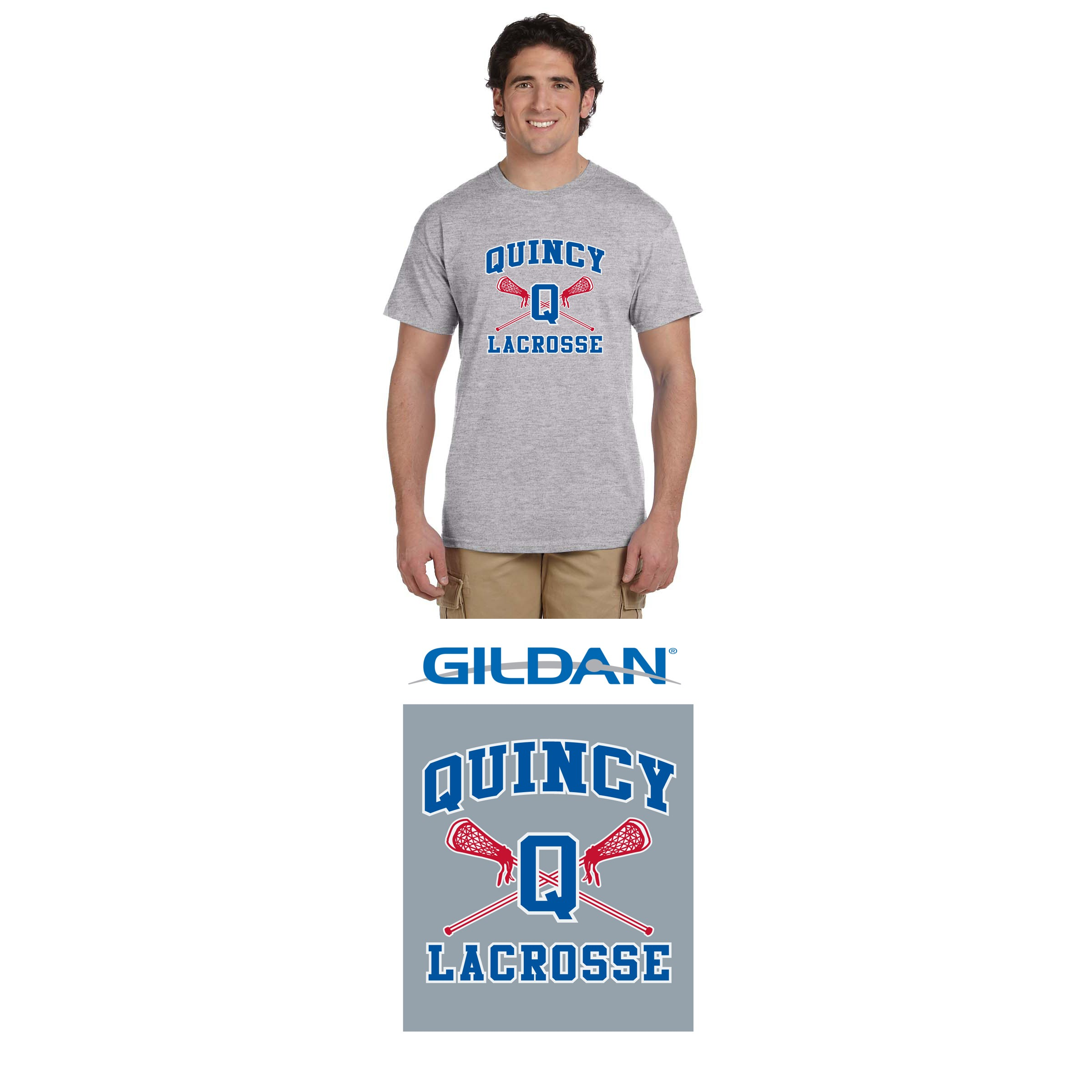 Quincy Lacrosse Gildan Ultra Cotton® 6 oz. T-Shirt, Men's/Adult Unisex Fit