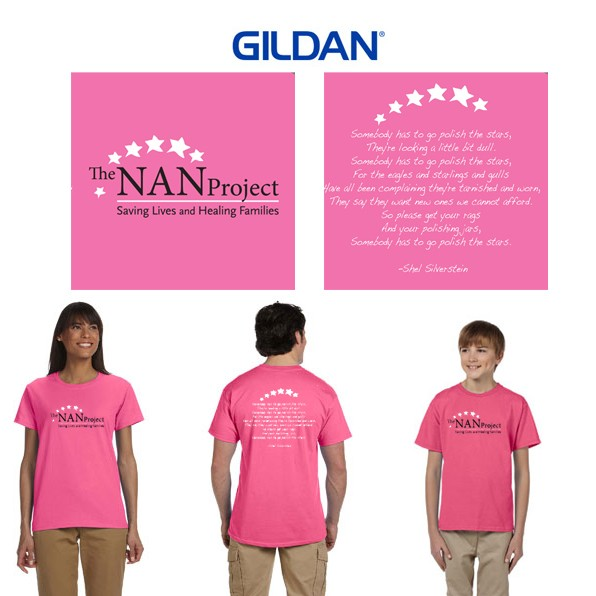 "The NAN Project Gildan Short Sleeve Tee, Pink ""Shel"" Special Edition Tee"