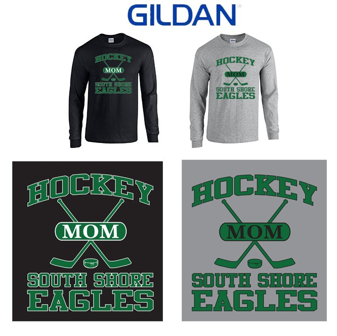 "South Shore Eagles Gildan Unisex Adult 5.3 oz. Long-Sleeve T-Shirt, Soccer Mom ""Sporty"" Logo (Unisex Adult Fit)"