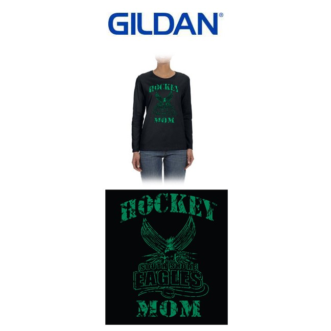 "South Shore Eagles Gildan Ladies' 5.3 oz. Long-Sleeve T-Shirt, Soccer Mom ""Vintage"" Logo (Ladies/Missy Fit)"