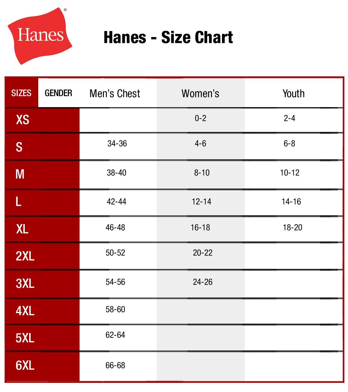 Size chart hanes