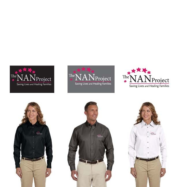 The NAN Project Harriton Easy Blend™ Long-Sleeve Twill Shirt with Stain-Release