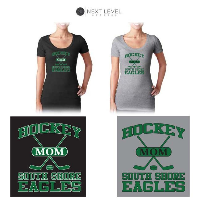 "South Shore Eagles Next Level Brand Ladies' Perfect Scoop Scoop-Neck Tee, Soccer Mom ""Sporty"" Logo (Ladies/Missy Fit)"