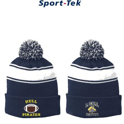 e0b5417f4d207 Hull Boosters Football Sport-Tek® Stripe Pom Pom Beanie STC28