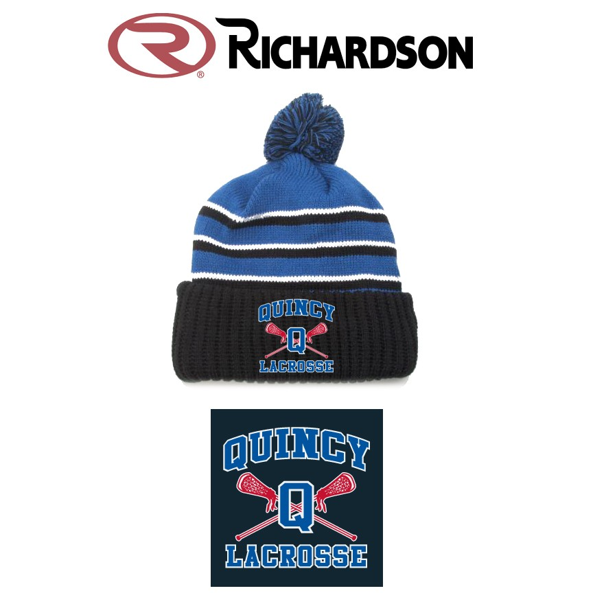 Quincy Lacrosse Richardson Brand Pom Knit Hat with Cuff