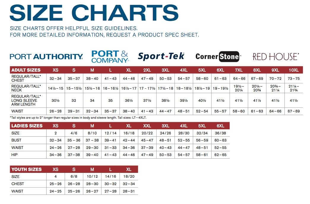 Size chart port company port authority sport tek red house