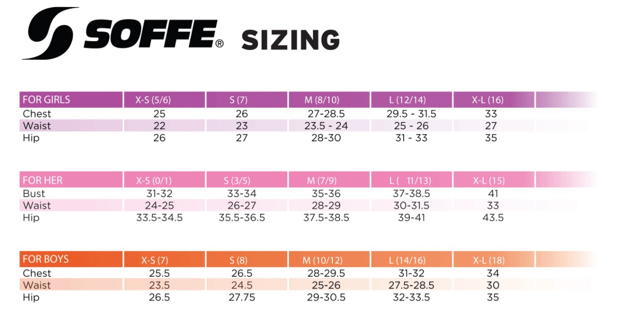 Size chart soffe