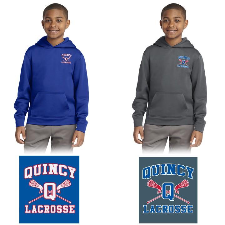 Quincy Lacrosse Sport-Tek® Youth Sport-Wick® Fleece Hooded Pullover. YST244
