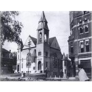 First Congregational Church before it burned down in 1890 Rockland Mass