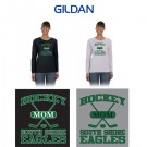 "South Shore Eagles Gildan Ladies' 5.3 oz. Long-Sleeve T-Shirt, Soccer Mom ""Sporty"" Logo (Ladies/Missy Fit)"