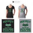 """South Shore Eagles Next Level Brand Ladies' Perfect Scoop Scoop-Neck Tee, Soccer Mom """"Sporty"""" Logo (Ladies/Missy Fit)"""