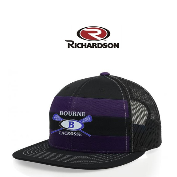 Bourne Lacrosse Richardson Brand Striped Front/Mesh Back Cap, Snap-back