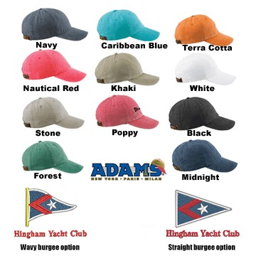 Hingham Yacht Club HYC Adams Brand Six Panel Low-Profile Washed Pigment-Dyed Cap