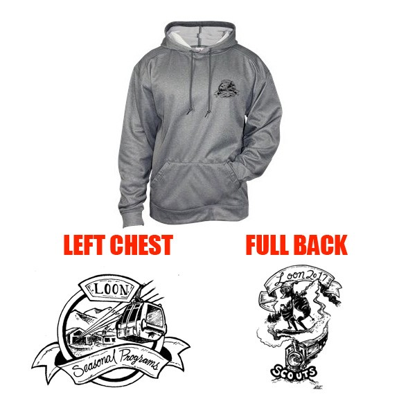 Loon Mountain Scouts Badger Brand Pro Heathered Fleece Premium Hooded Sweatshirt 2017 EDITION