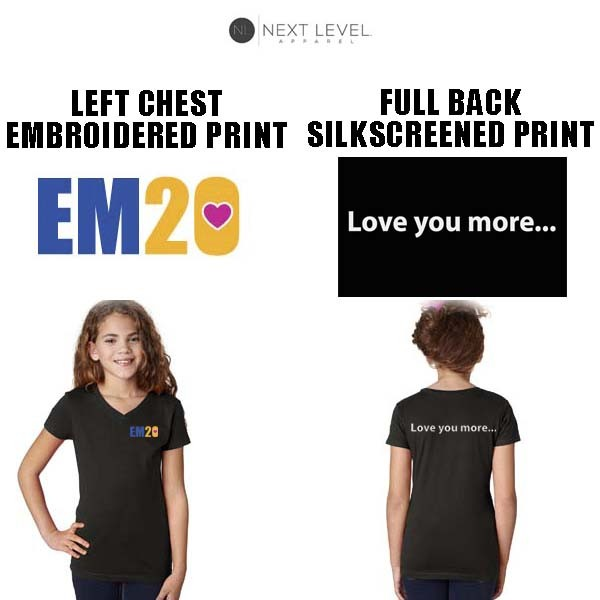 """Emma Ryan Scholarship Fund Next Level Brand Princess """"V"""" Tee, Special Edition, Girl's Fit, Black, Embroidered Front Logo"""