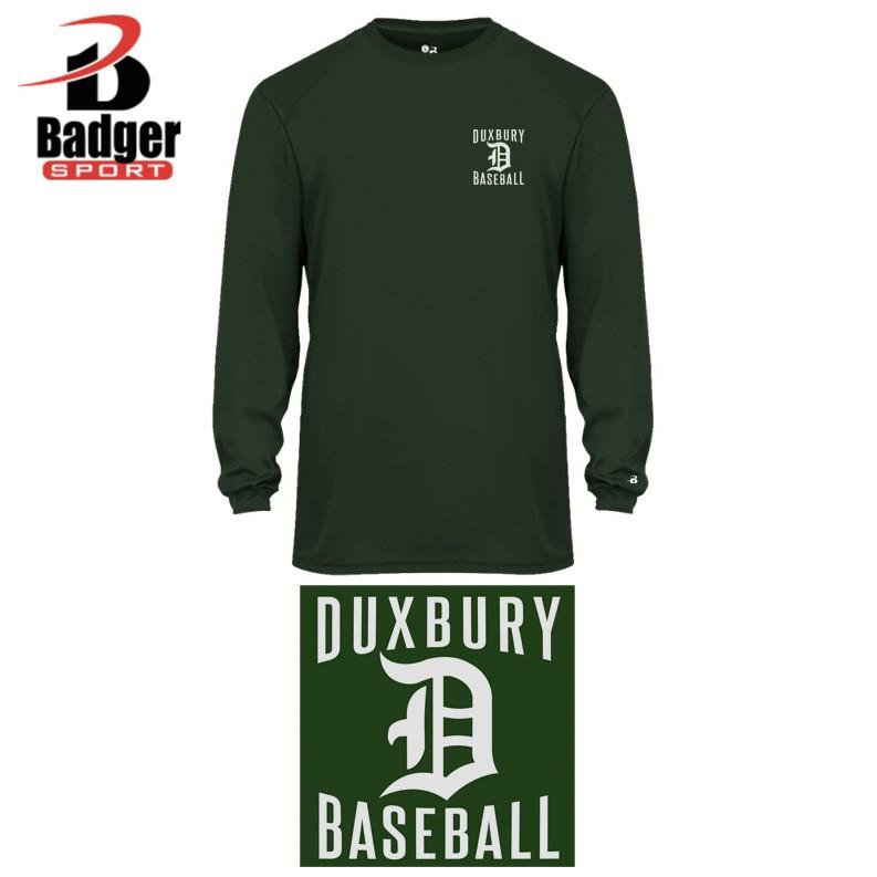 Duxbury Youth Baseball Badger B-Core Long Sleeve Tee, Youth, Performance Material, SILKSCREENED