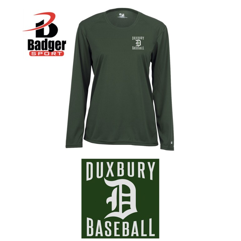 Duxbury Youth Baseball Badger B-Core Long Sleeve Tee, Womens, Performance Material, SILKSCREENED