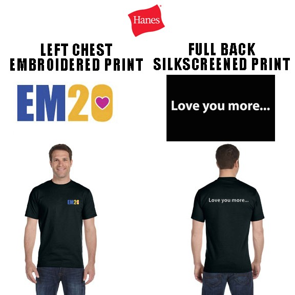 Emma Ryan Scholarship Fund Hanes Beefy Tee, Special Edition, Men's Fit, Black, Embroidered Front Logo