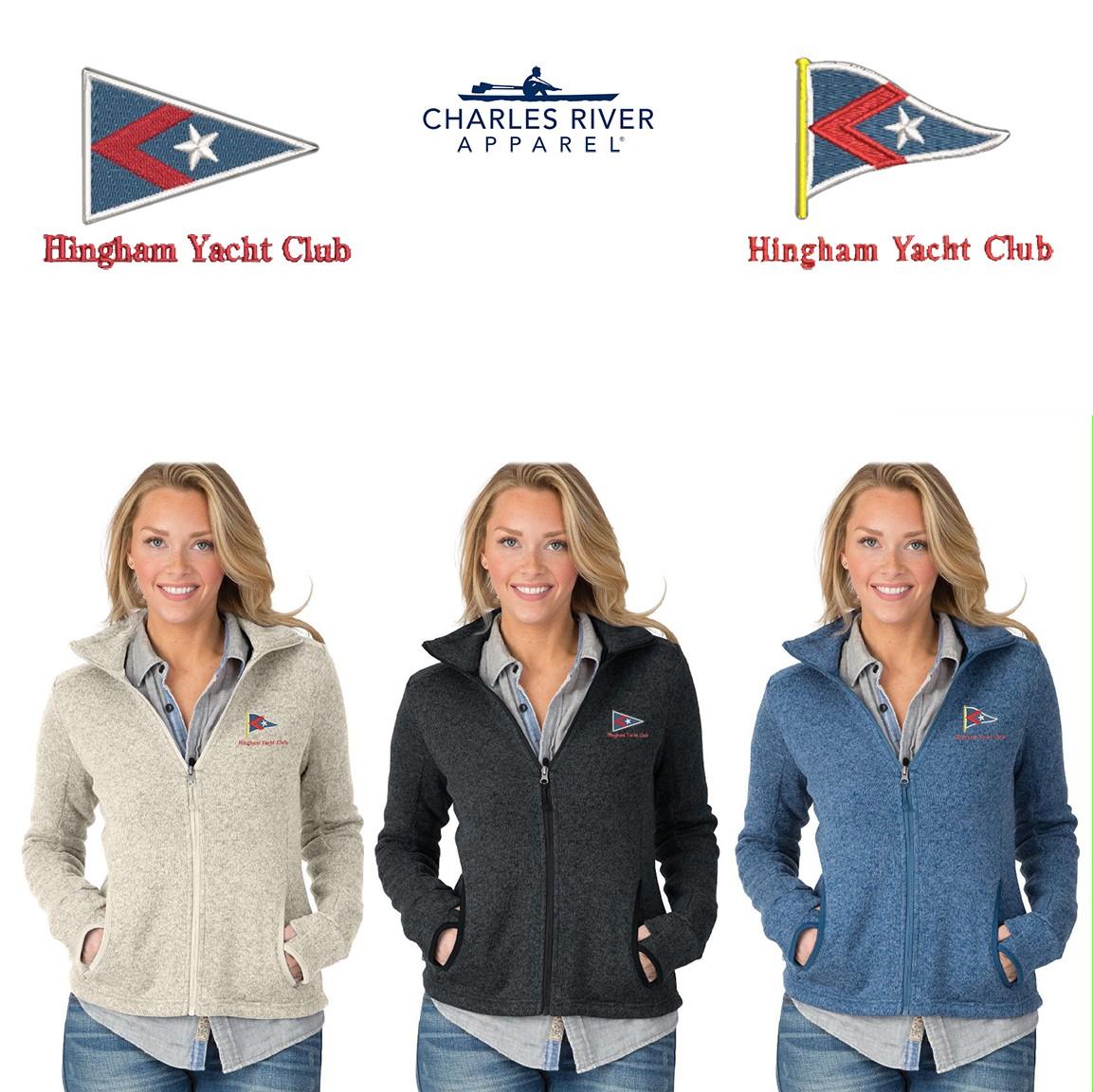 Hingham Yacht Club Charles River Women's Heathered Fleece Jacket 5493