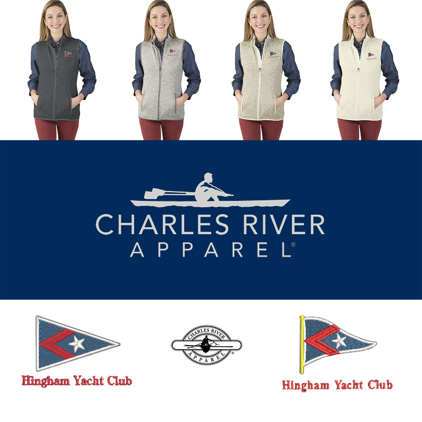 Hingham Yacht Club Charles River Women's Pacific Weathered Fleece Vest 5722