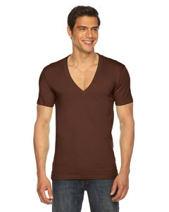 American Apparel Unisex Sheer Jersey Short-Sleeve Deep V-Neck Model 6456- CLEARANCE