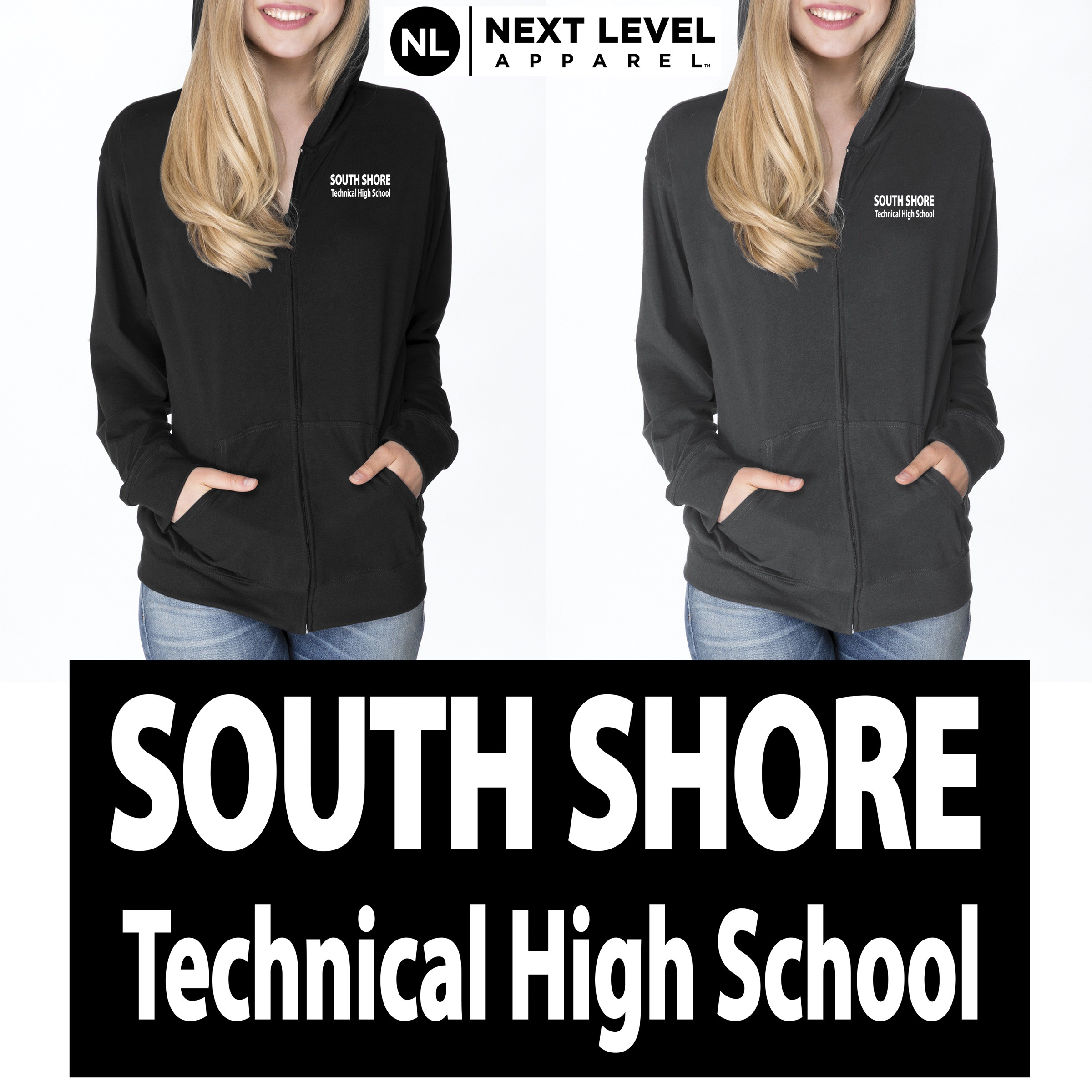 South Shore Technical High School Next Level Adult Sueded Full-Zip Hoody