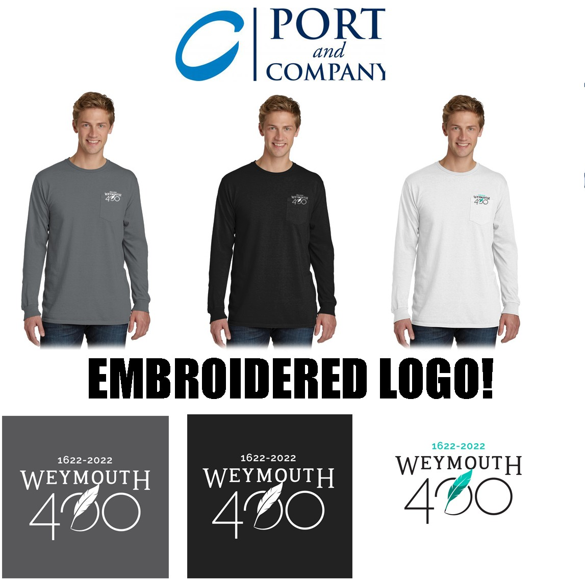 Weymouth 400 Port & Company® Pigment-Dyed Long Sleeve Pocket Tee, Embroidered Version