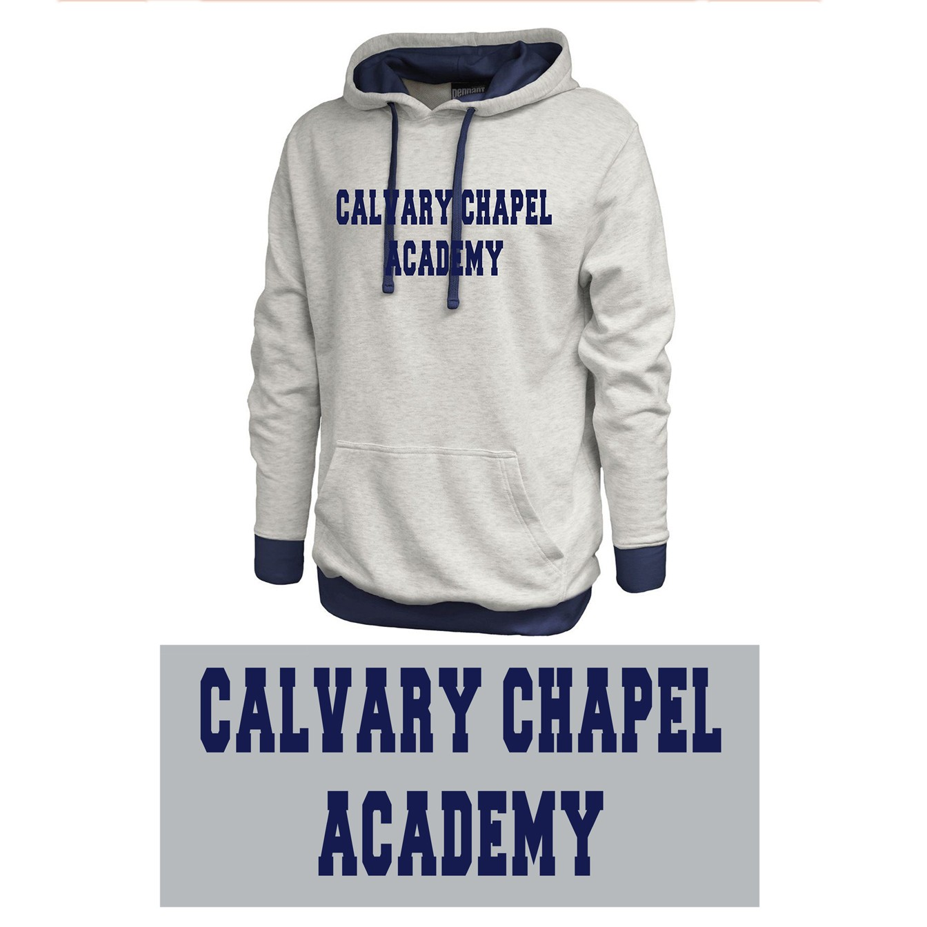 Calvary Chapel Academy Pennant Sportswear Vintage White & Navy Hoodie, Adult Sizing