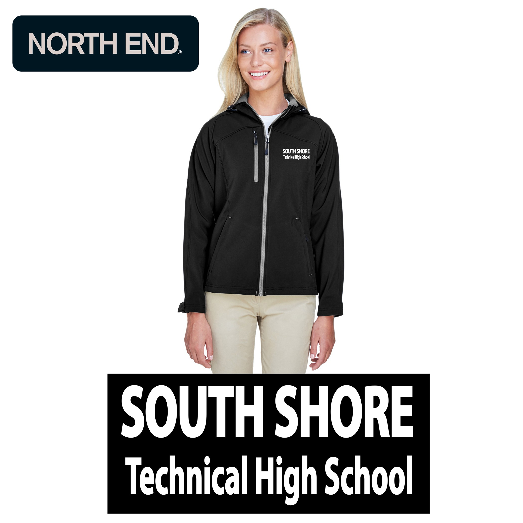 South Shore Technical High School Ash City - North End Ladies' Prospect Two-Layer Fleece Bonded Soft Shell Hooded Jacket
