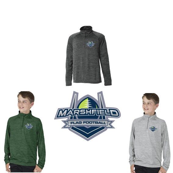 Marshfield Flag Football Charles River Space Dye Performance Pullover for Youth