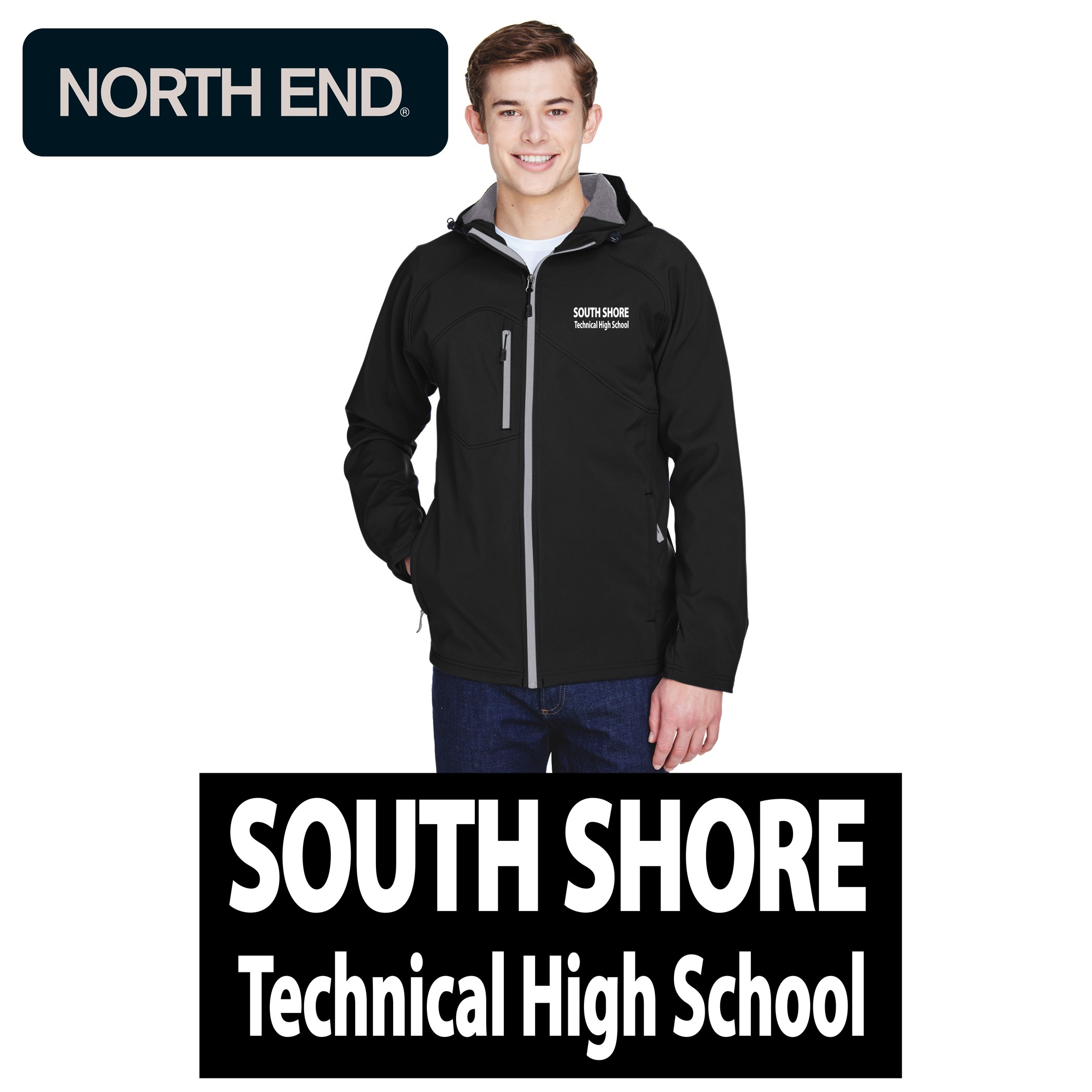South Shore Technical High School Ash City - North End Men's Prospect Two-Layer Fleece Bonded Soft Shell Hooded Jacket