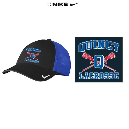 Quincy Lacrosse Nike Premium Mesh Back Cap, Fitted Sizes